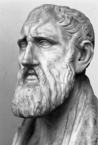 Head bust of Greek philosopher Zeno of Citium. Zeno has a thinning hair and a long beard.